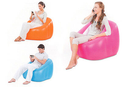 INFLATABLE FLOCKED SINGLE COMFY COMFI BUBBLE POD CUBE CHAIR LOUNGER GAMING