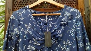 Laura-Ashley-Blouse-Top-UK-10-US6-EU-36-38-Blue-Floral-Soft-Comfy-Stretch-Fabric