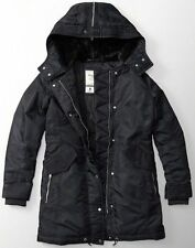NWT Abercrombie & Fitch Women's Black Shiny Parka Puffer Jacket Coat M New Fur