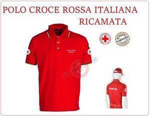Polo-Rossa-Manica-Corta-Ricamata-Croce-Rossa-Italiana-New-Capitolato-CRI-C-R-I