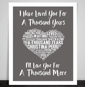 CHRISTINA PERRI A Thousand Years Music Love Song Lyric Heart Art Print  Framed