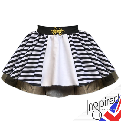 Girls Beetlejuice Costume Black And White Stripe Skirt Jump In The Line Shake Ebay