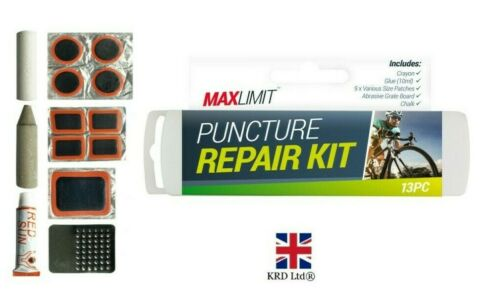 13Pc Cycle Puncture Repair Kit Bike Tyre Inner Tube Glue Patch Chalk Tools UK