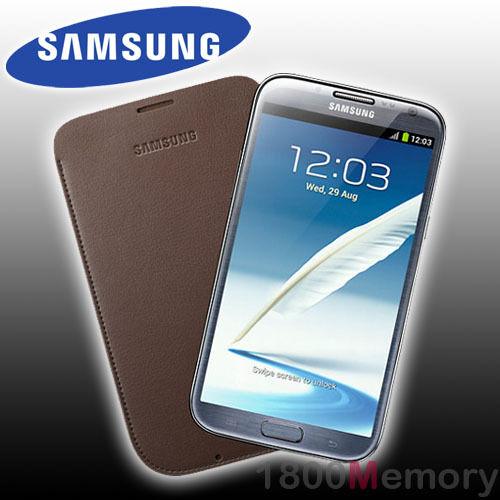 GENUINE Samsung Galaxy Note II 2 GT-N7100 GT-N7105 Leather Pouch Chocolate Case