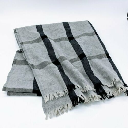 Club Monaco Gray Black Plaid Wool Blanket Scarf