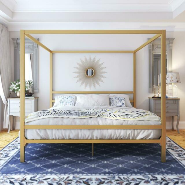 Magnificent King Size Dark Gold Metal Canopy Bed Frame Headboard Modern Bedroom Furniture Machost Co Dining Chair Design Ideas Machostcouk