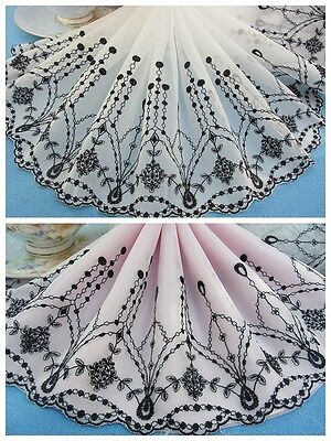 "8""*1Y Embroidered Floral Tulle Lace Trim~Ivory White+Black~Grace&Elegance~"