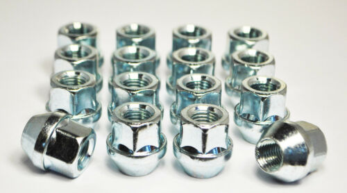Set of 16 x M12 x 1.5 17mm Hex Open Alloy Wheel Nuts Silver