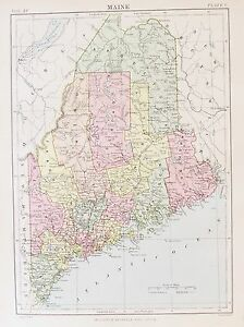 OLD-ANTIQUE-MAP-MAINE-UNITED-STATES-c1880-039-s-by-W-amp-A-K-JOHNSTON-USA