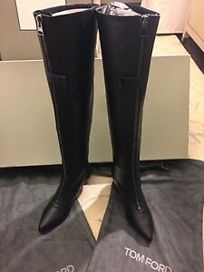 7a16c986482c9 Image is loading Tom-Ford-Over-the-Knee-Leather-Boot-black-