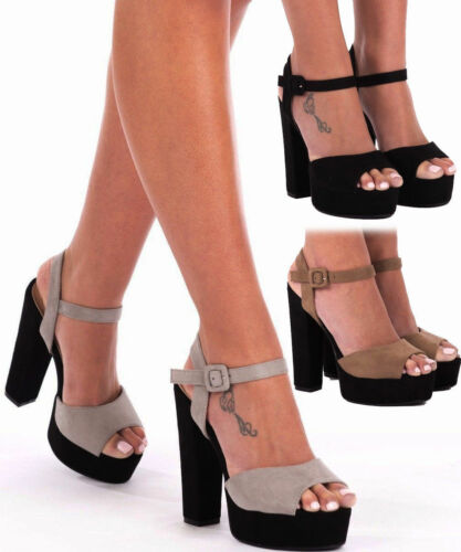 Womens Ladies Faux Suede  High Heel Ankle Strap Peep Toe Starppy Sandals Size3-8