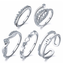 (JW032) 5-Piece Set of Silver-Plated Midi Rings in various sizes