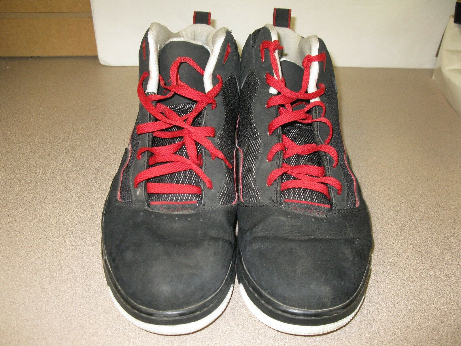 Men's  Air Jordan athletic basketball shoes size 18 black red