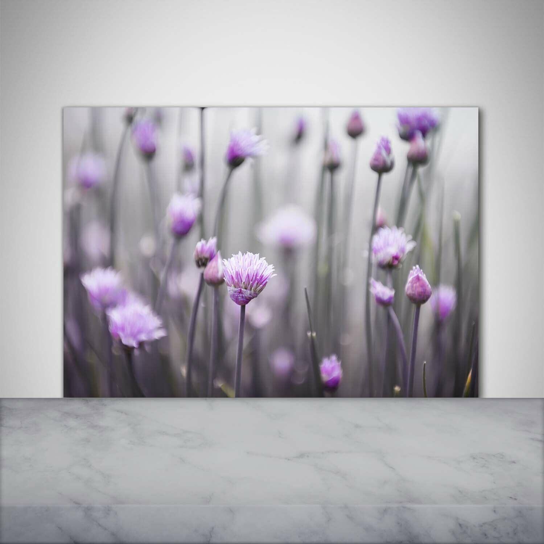 Küchenrückwand Spritzschutz aus Glas 100x70 Blaumen & Pflanzen SchnittlauchBlaumen