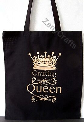 PERSONALISED GIFT CRAFTING QUEEN THEMED BAG FOR LIFE  BLACK TOTE BAG PROJECT BAG
