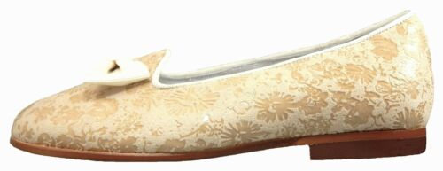 DE OSU P-9828 4 Girls European Ivory Leather Dress Slipper Shoes -Sizes 10 2