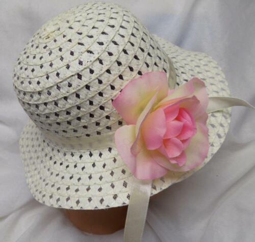 CREAM  EASTER BONNET EASTER HAT w//PINK ROSE TODDLER LITTLE GIRL NEW