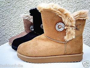 Femme Fille Botte Boots Bottine Chaussure fourrées fur Plat Talon ... 68463de9f362