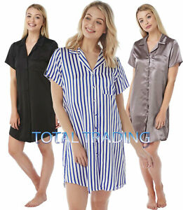 Ladies-Womens-Nightshirt-Nightdress-Nightie-Satin-Short-Sleeve-Slip-Pyjamas