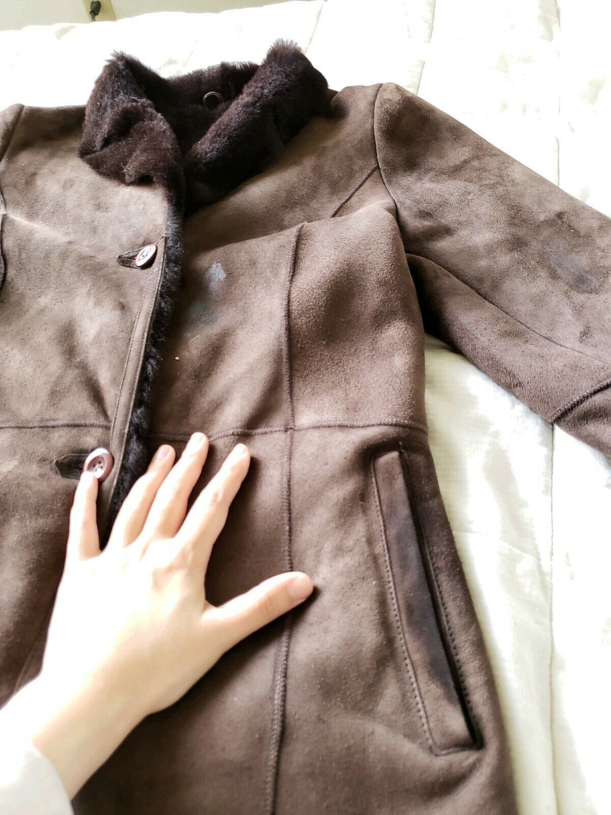 The Limited genuine full length shearling coat sl… - image 10