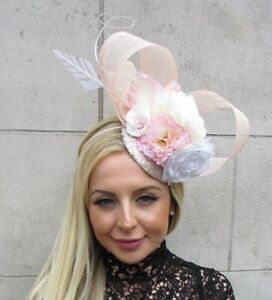 e418f18c29a69 Details about Blush Light Pink White Cream Rose Flower Feather Hat  Fascinator Races Hair 5759