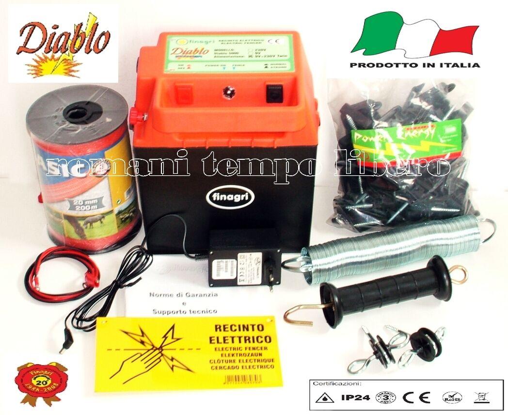 RECINTO ELETTRICO CORRENTE BATTERIA DIABLO 5000 CON FETTUCCIA MM. 20 + ACCESSORI