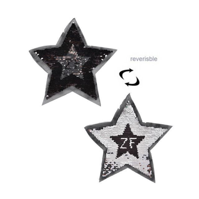 reversible change color sequins five-pointed star sew on patches for FF