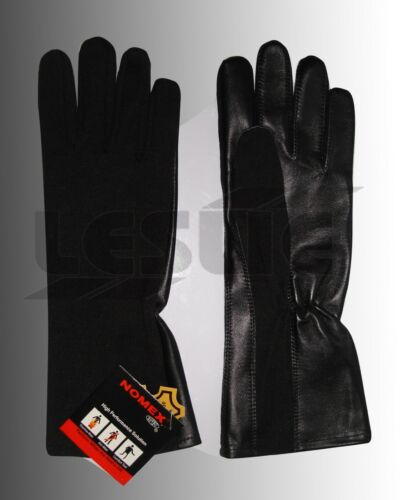 TACTICAL NOMEX FIRE RESISTANT FLIGHT PILOT LEATHER GLOVES BLACK 8-9 10 size