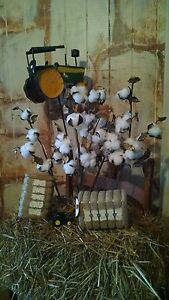 Cotton Boll Stems Crafts Lot of 5 Faux Stalks Rustic Country Home Decor Farm