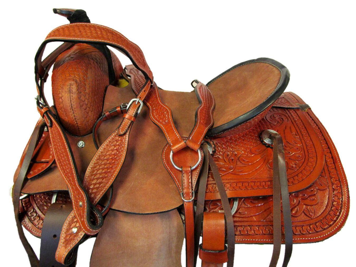 Silla de montar 15 16  17 Oeste Rodeo Amarrar Roper amarrar Caballo Trail Conjunto De Cuero fileteado  Mejor precio