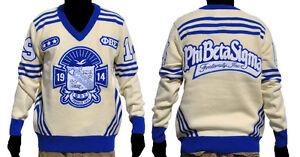 Phi Beta Sigma Long Sleeve V Neck Sweater White Blue V Neck