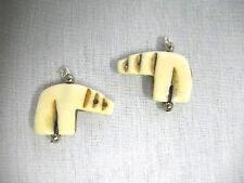 CARVED ANTIQUE BUFFALO BONE TOTEM SPIRIT FULL BODY BEAR / BEARS CUSTOM EARRINGS