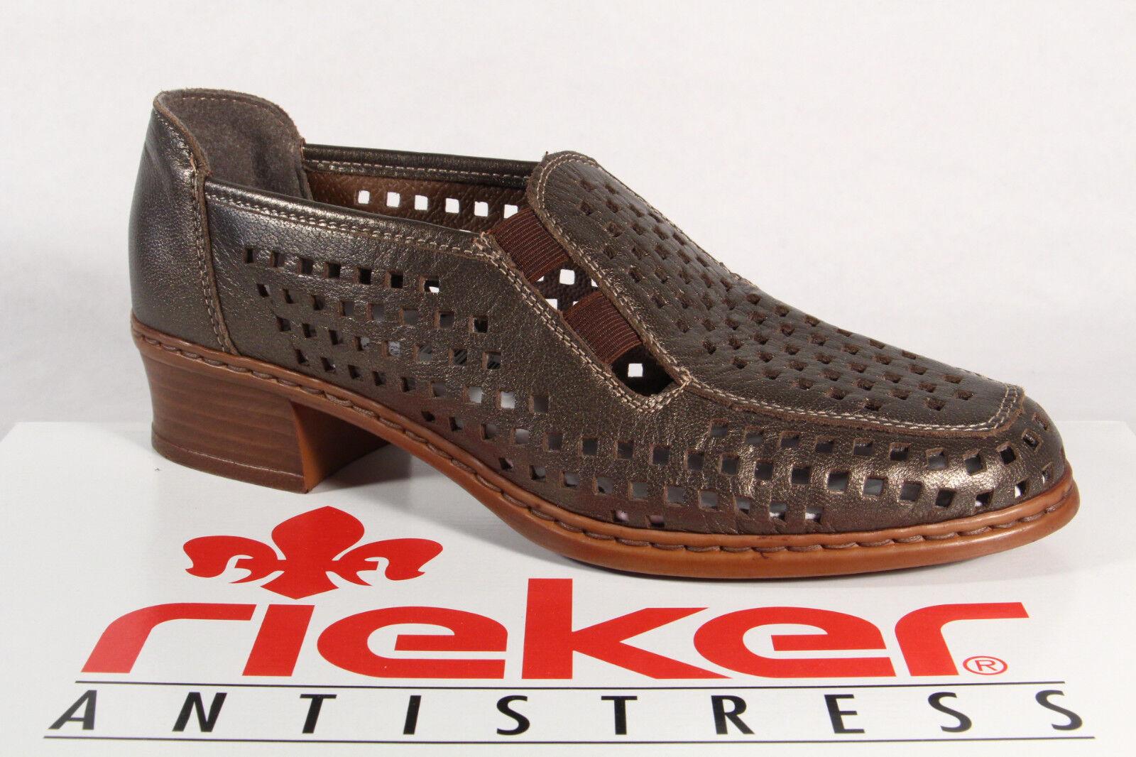 Zapatos casuales salvajes Descuento por tiempo limitado Rieker Zapatilla Bajo Zapatos Bailarina De Tacón Cuero Auténtico Bronce NUEVO