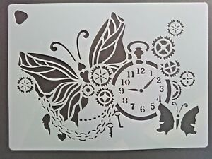 Wall Stencil Reusable Template Butterfly Watch Cogs Chain Keys ...