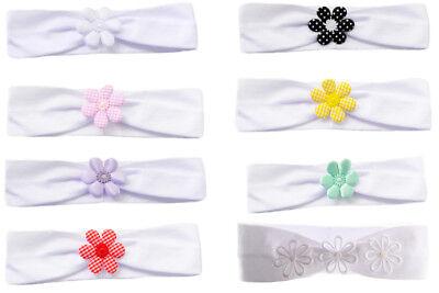 Baby /& Kinder Stirnband Haarband Weiß Kopfband Taufe Fest  NEU m Blumen ab 0M
