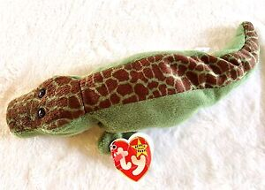 """Retired Ty """"Ally"""" Alligator Beanie Baby 4th Gen Hang Tag 4th Gen Tush"""