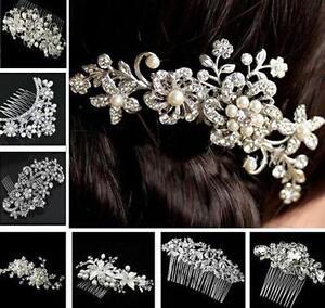 Bridal Bridesmaid Wedding Jewellery Silver Crystal Flower Pearls Hair Comb Clip