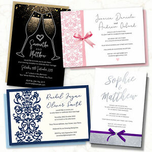 Personalised-Wedding-Day-or-Evening-Invitations-Invites-Card-FREE-Envelopes