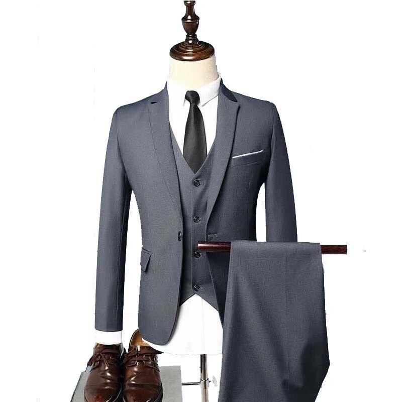 3pcs Men's Blazer Suit Set Business Bridegroom Formal Wedding  Vest Pants Sets