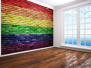 Image Is Loading Rainbow Flag Painted On Old Brick Photo Wallpaper