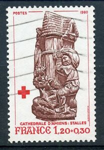 TIMBRE-FRANCE-OBLITERE-N-2116-STATUE-CATHEDRALE-AMIENS