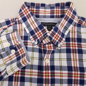 Banana-Republic-Men-039-s-Soft-Wash-Shirt-Size-Large-Plaid-Blue-Red-Yellow