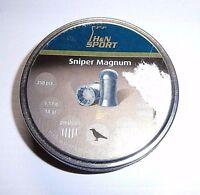 H&n Sniper Magnum .22 Cal Lead Pellets 250 Count Round Tin 18 Grains Domed Shape