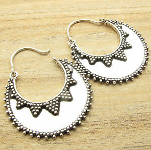 925-Silver-Plated-WOMEN-039-S-Fashion-JEWELRY-Half-Moon-HOOP-Earrings-MADE-IN-INDIA