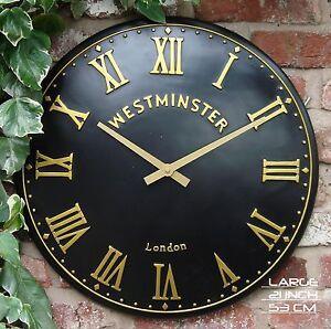 Image Is Loading Outdoor Indoor Black Large Garden Wall Clock Hand