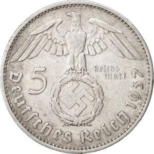 One-1-WW2-German-5-Mark-Silver-Coin-Third-Reich-Reichsmark-Large-Swastika
