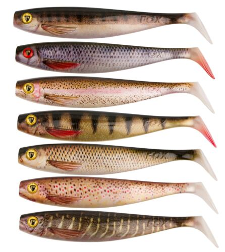 Fox Rage Pro SHAD SUPER NATURAL PIKE FISHING Soft Lures PADDLE TAIL ALL SIZES