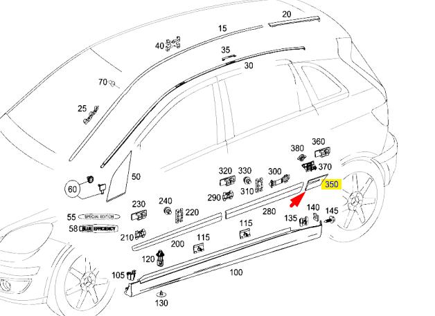 Mercedes-Benz B-Klasse W245 Hinten Hinten Hinten Rechts Schutz Leiste A16969042627748 Neu 953a13