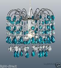 Cerceta Azul Cristal Gota Estilo Pantalla de Lámpara Colgante De Cascada pantalla 1st Clase