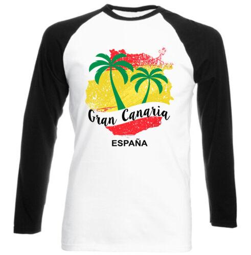 Gran Canaria Canarie-NUOVO NERO MANICHE LUNGHE Baseball T-SHIRT COTONE